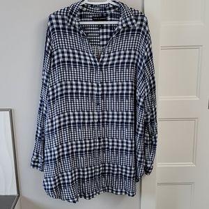 Ladies button down plaid tunic shirt